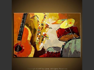 Sax Duo - original canvas painting by Lena