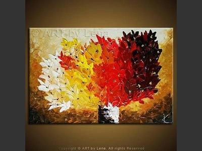 June Flames Bouquet - original canvas painting by Lena