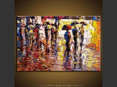 Promenade In Rain - modern artwork