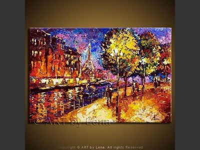 Paris Nights - original canvas painting by Lena
