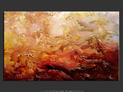 Golden Mustangs - original canvas painting by Lena
