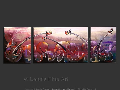 Music Waves : Violet Sunset - original canvas painting by Lena