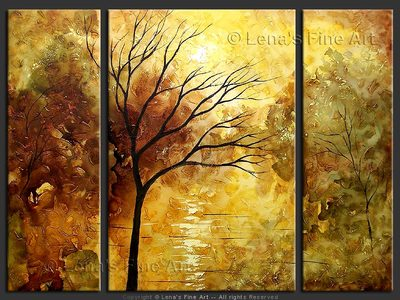 Sunset Lake - original canvas painting by Lena