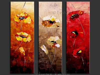 Three Seasons of Bloom - original canvas painting by Lena