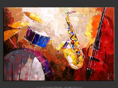 Drums, Sax and Bass - original canvas painting by Lena