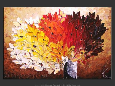 October Bouquet - original canvas painting by Lena