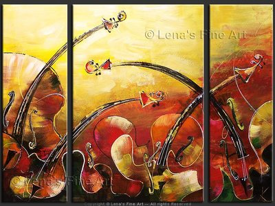 Music Waves : Golden Evening - original canvas painting by Lena
