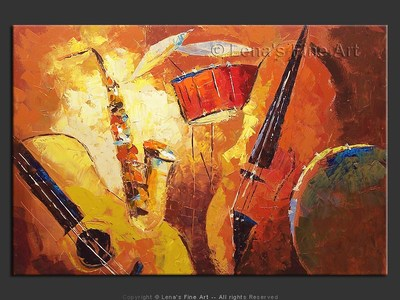 Sweet Melodies of Jazz - original canvas painting by Lena