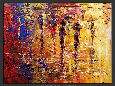 Rainbow Fog - original canvas painting by Lena