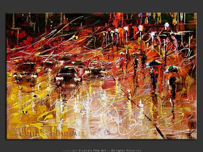 Night Traffic - original canvas painting by Lena