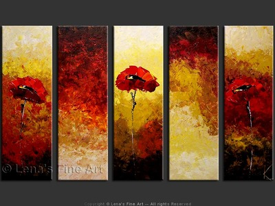 Red Poppies on Golden Field - art for sale