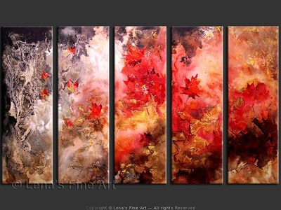 Crimson Fall - original canvas painting by Lena