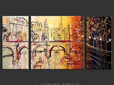 Paris Sketches: Bridge - original painting by Lena Karpinsky