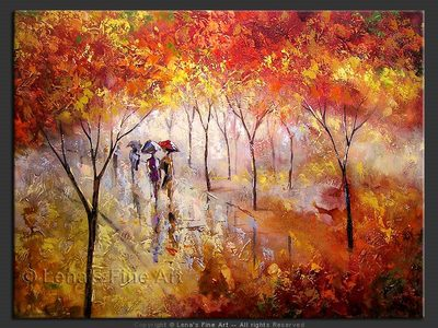 Autumn Reflections - original canvas painting by Lena