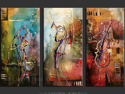 Jazz In The Air - original canvas painting by Lena