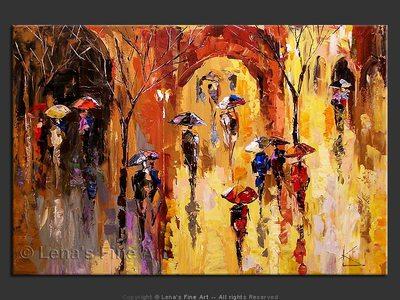 Paris Rain - original canvas painting by Lena
