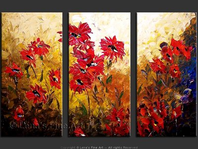 Red Asters - original canvas painting by Lena