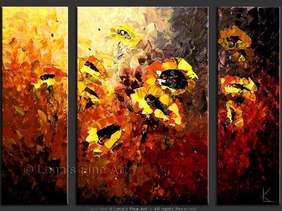 Sunflowers of the South Wind - original canvas painting by Lena