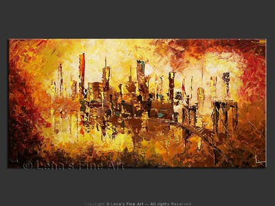 Gotham Mirage - original canvas painting by Lena
