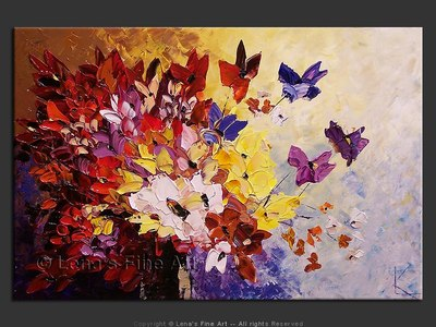 Butterflies Bouquet - original painting by Lena Karpinsky