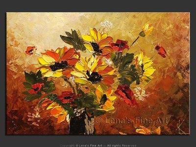 Sunflowers Bouquet - original canvas painting by Lena