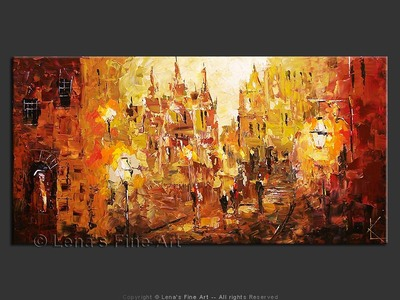 Old City Center - original canvas painting by Lena