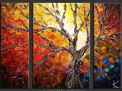 Peacock Tree - original canvas painting by Lena