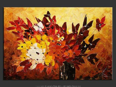 Red Butterflies Bouquet - contemporary painting