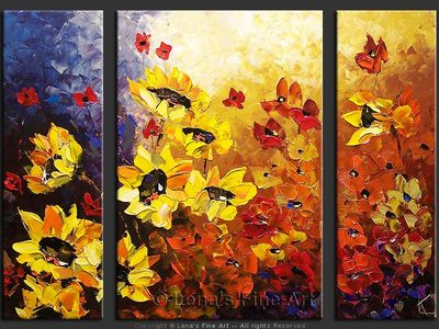 Majestic Sunflowers - original canvas painting by Lena