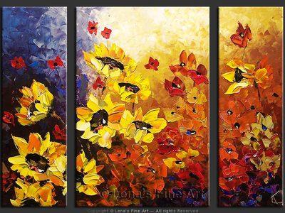 Majestic Sunflowers - original painting by Lena Karpinsky