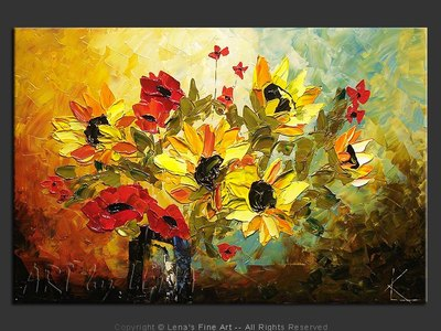 Sunflowers and Poppies - wall art