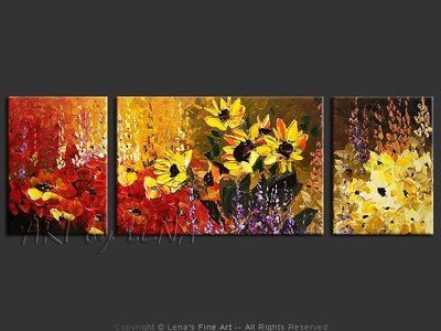 Sunflower Burst - original canvas painting by Lena