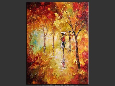 Autumn Rain Reflections - original canvas painting by Lena