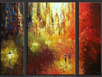 Central Park : The Evening Sun - original painting by Lena Karpinsky
