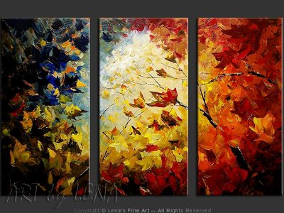 Maples Looking At The Sky - original canvas painting by Lena