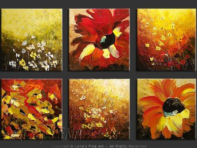 Floral Tiles - contemporary painting
