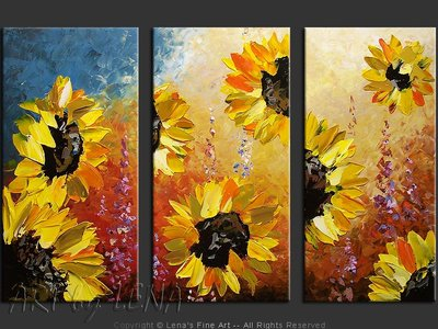 Golden Sunflowers - home decor art