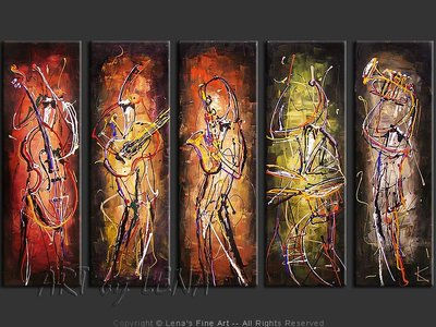 Neon Light Jazz - original canvas painting by Lena