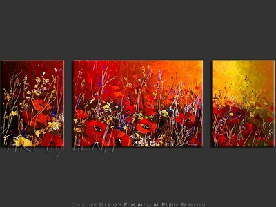 Red Fields - original canvas painting by Lena
