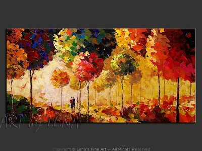 Fantastic Autumn With You - original canvas painting by Lena