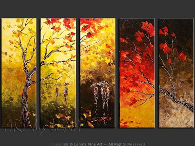 Rain Silhouettes - original canvas painting by Lena