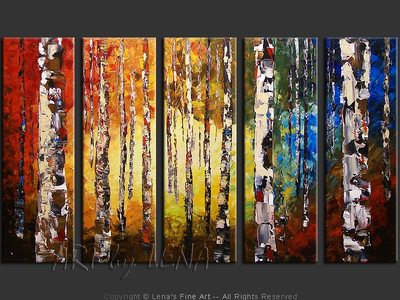 Birch Forest Morning - modern artwork
