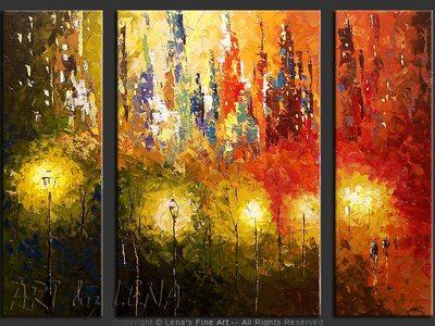 Central Park Lights - original painting by Lena Karpinsky