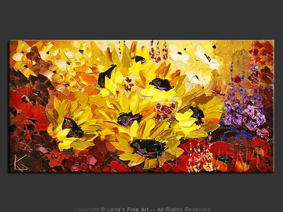 Field of Giant Sunflowers - original painting by Lena Karpinsky