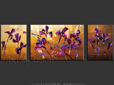 Majestic Irises - original canvas painting by Lena
