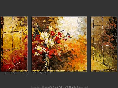 Window and Bouquet - original canvas painting by Lena