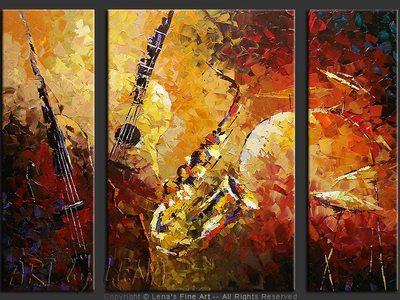 Sympho-Jazz : Summertime - original canvas painting by Lena