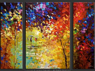 Rainbows Of The Fall - original canvas painting by Lena