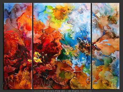 Red and Blue Orchideas - home decor art