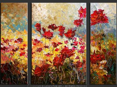 Wild Rose Field - modern artwork